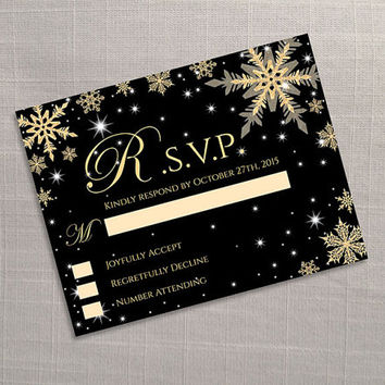 DIY Printable Wedding RSVP Template | Editable MS Word file | 5.5 x 4.25 | Instant Download | Winter Gold Snowflakes Black