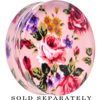 40mm Acrylic Pink Grandma's Wallpaper Flowered Saddle Plug