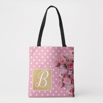 Pink Polkadot and Peonies Tote Bag | Zazzle.co.uk
