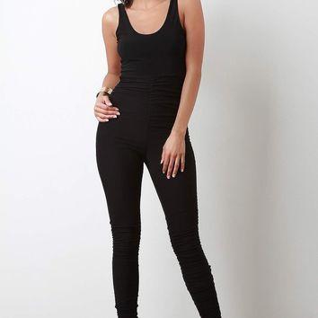 Two Tone Ruched Mesh Jumpsuit