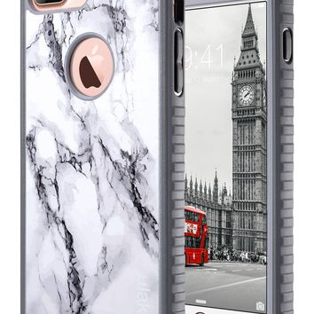 iPhone 7 Plus Case, Marble iPhone 7 Plus Case, ULAK Slim Shockproof Flexible TPU Bumper Durable Anti-Slip Lightweight Front and Back Hard Protective Safe Grip Cover for Apple iPhone 7 Plus 5.5 inch