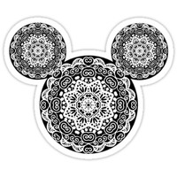 'Mandala Mickey Head ' Sticker by Anxietykida
