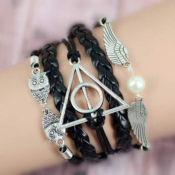 CREYU3C New Harry Potter Deathly Hollows Infinity Owl Angel Wing Charms Leather Bracelet