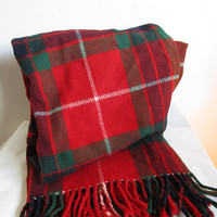 The ERNE Rug Red Plaid Blanket Vintage 1970s Tartan Irish Camp Travel Cottage Throw with Fringe Made in Ireland