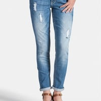 destructed boyfriend skinny jeans