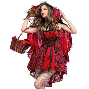 Umorden Purim Holiday Party Halloween Costumes for Women Fairy Tale Gothic Little Red Riding Hood Costume Cosplay Adult S-XL
