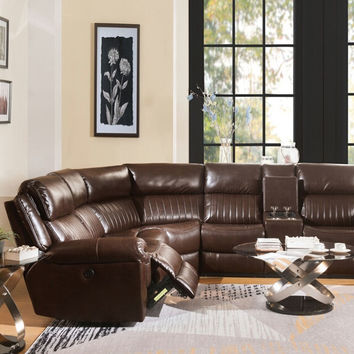 Acme 53695 3 pc Lonna brown leather gel sectional sofa with power recliners