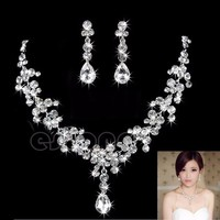 Wedding Bridal Rhinestone Crystal Drop Necklace Earring Plated Jewelry Set