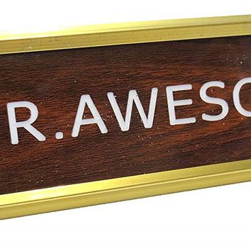 Mr. Awesome Nameplate in Brown, White and Gold