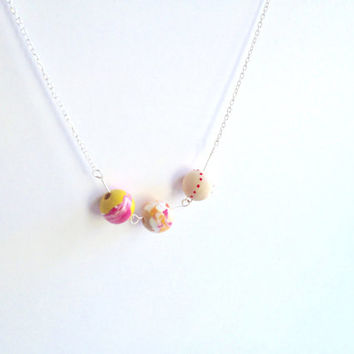 Rose Sphere Planet Necklace - Pink Red Wooden Beads