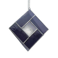 Purple Stained Glass Suncatcher, Amethyst Square Stained Glass Suncatcher
