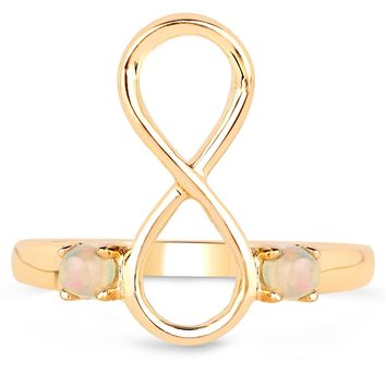 LoveHuang 0.14 Carats Genuine Ethiopian Opal Infinity Ring Solid .925 Sterling Silver With 18KT Yellow Gold Plating