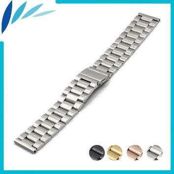 Stainless Steel Watch Band 18mm 20mm 22mm 23mm 24mm for Orient Folding Clasp Strap Quick Release Loop Belt Bracelet Black Silver
