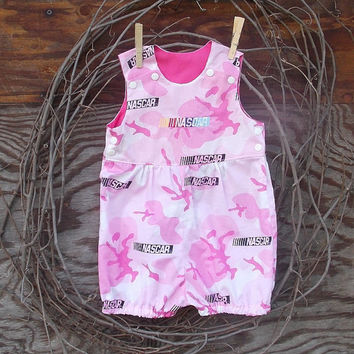 Baby Girl Bubble Romper Pink Camouflage, NASCAR  Embroidery, sizes 3 to 12 months
