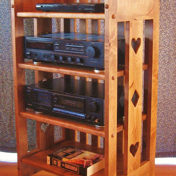 Bookcase Mission Arts Crafts Style Handmade Alder Wood Media Shelf Hearts Diamonds