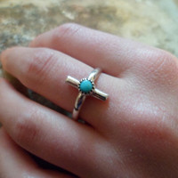Authentic Navajo,Native American,Southwestern sterling silver sleeping beauty turquoise crucifix ring. Size 7 1/2.