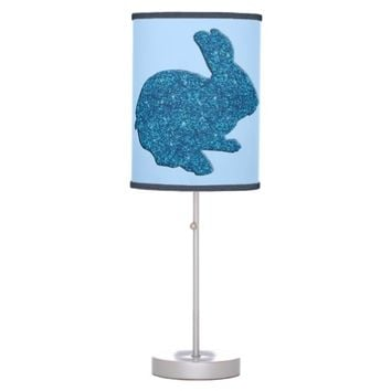 Blue Glitter Silhouette Easter Bunny Desk Lamp
