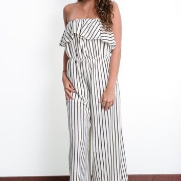 Ivory Strapless Striped Jumpsuit