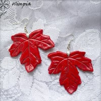 autumn red maple leaves earrings red leaf botanical earrings autumn fall leaves large red earrings from polymer clay