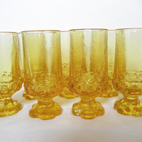Crystal Glasses Franciscan Madeira Yellow Corn Silk Footed Tumblers Casual Crystal Mid Century Mediterranean 1970 Man Cave Barware Set Seven
