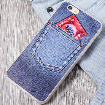 Creative Denim Pocket iPhone 5s 6 6s Plus Case Cover Gift-122