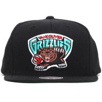 Vancouver Grizzlies Bear Logo Wool Solid Snapback Hat Black
