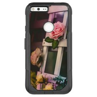 Vintage Pink Rose on White Wood Frame OtterBox Commuter Google Pixel XL Case