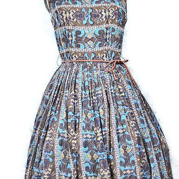 Vintage 1950's Blue Sleeveless Cotton Day Dress