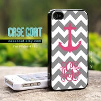 Monogram iPhone 4 Case, iPhone 4s Case - Custom, Monogram, Chevron, Anchor, Gray, iPhone Case, Case for iPhone - A01A1169