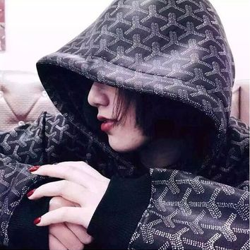 Goyard Fashion Women Men Casual Print Long Sleeve Hooded Sweater Top Sweatshirt