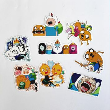 8Pcs/Lot American Drama Adventure Time Funny Sticker Decal For Car Laptop Bicycle Motorcycle Notebook Waterproof Stickers Pegati