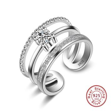 New Punk silver Jewelry 925 Stamp Silver With Austrian Crystal 3 layer Opening Adjustable Size simple Rings For Woman Girls