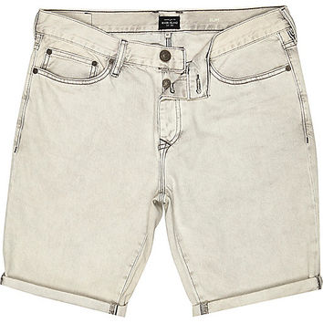 River Island MensGrey denim rolled up slim shorts