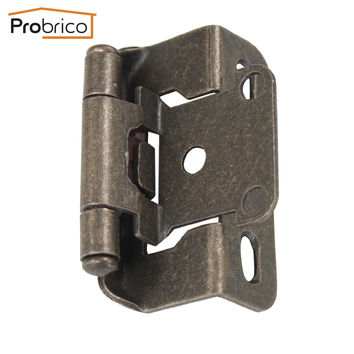 Probrico Self Close Kitchen Cabinet Hinges Antique Bronze Ch196Ab Partial Wrap 1/2-Inch Overlay Furniture Cupboard Door Hinge