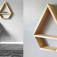 Large Geometric Shelf . Diamond Shelf . Modern Shelving . Pine Shelves . Handmade Shelving . Minimal Design Shelves