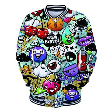 Hip Hop Graffiti Art Jacket Hipster Painting 3d Baseball Jackets Men and Women Fashion Long Sleeve Outerwear Cool Plus SizeCoats