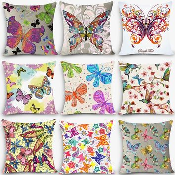 "New cheap pillow colorful butterfly Print Home Decorative Cushion Throw Pillow18"" Vintage Cotton Linen Square MYJ-B4"