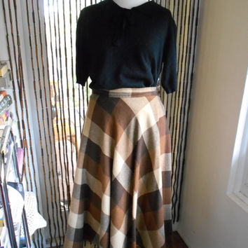 "Vintage tan cream and brown winter plaid a-line swing skirt 70s does 50s with 30"" waist"