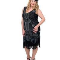 "Unique Vintage Plus Size 1920s ""The Bosley""  Black Beaded Flapper with Beaded Fringe Dress"