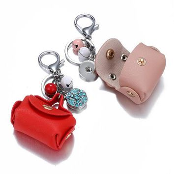 Mini Leather Bag With Button Key Chain