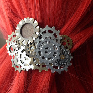 Steampunk Wheat Penny Hair Clip w/ Gears, Victorian Hair Clip, Women's Statement Jewelery, Steampunk Alternative Industrial Jewelry
