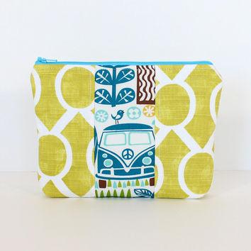 Padded Zipper Pouch Cosmetic Makeup Bag Green Fabric Blue Peace Van Accent Patchwork