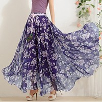 Hot Elegant Fancy Flower Print Skirt Long Women Fashion Peacock Feather Elastic Waist Ultra-long Big Bottom Full Chiffon Skirt