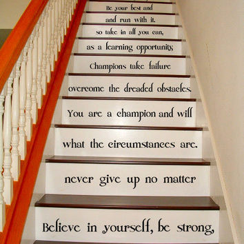 Vinyl Stairs Decal Quote Believe in Yourself, Be Strong / Inspirational Text Sticker / Art Decor Home Motivational Decals + Free Decal Gift