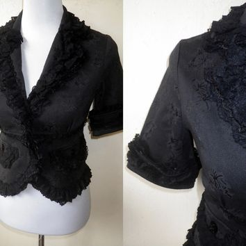 Autumn / Fall Sale: black ruffled fitted jacket (small)