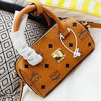 MCM New fashion more letter print leather shoulder bag crossbody bag handbag Brown