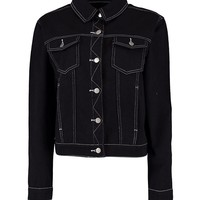 Oversize Contrast Stitch Denim Jacket | Boohoo