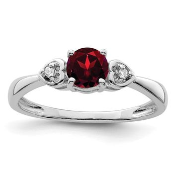 925 Sterling Silver Rhodium Plated Diamond and Garnet Ring
