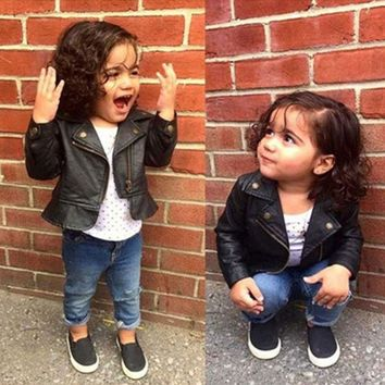 Fashion Baby Girls Leather Jackets PU Short Coat for Girl Outerwear Cloth infant baby jacket