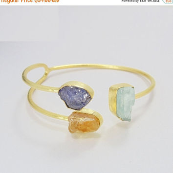 25% SALE Handmade Bangle - Tanzanite Bangle - Gold Plated Bangle - Aquamarine Bangle - Citrine Bangle - Adjustable Cuff Bangle - Rough Stone